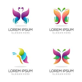 Pacote de logotipo colorido de borboleta abstrata