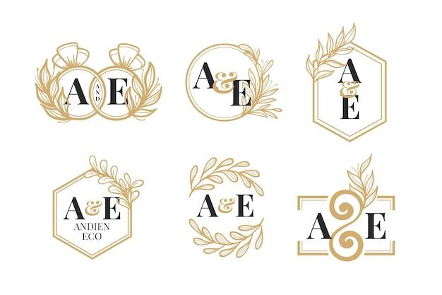 Pacote de logotipo com monograma de casamento dourado desenhado à mão