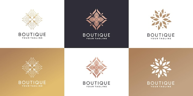 Pacote de logotipo da boutique com estilo criativo premium vector