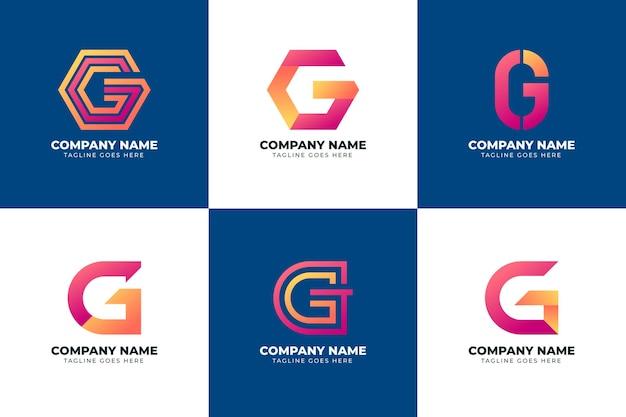 Pacote de logotipo da letra g gradiente