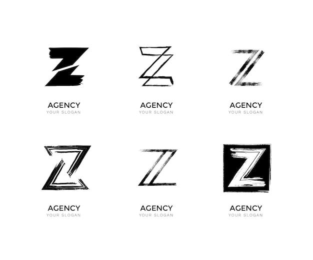 Pacote de logotipo da letra z pintado à mão
