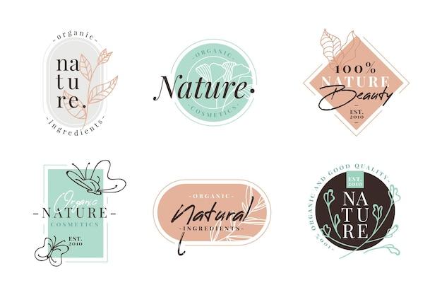 Pacote de logotipo da natureza cosméticos