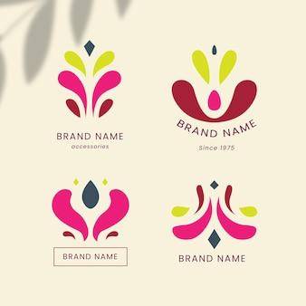 Pacote de logotipo de acessórios de moda de design plano