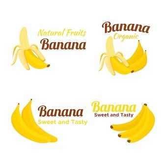 Pacote de logotipo de banana desenhado