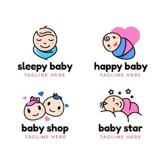 Pacote de logotipo de bebê fofo
