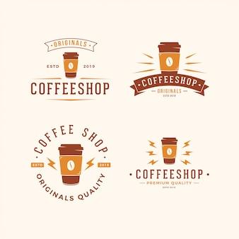 Pacote de logotipo de café de xícara de papel