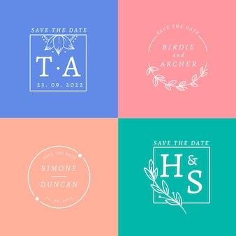 Pacote de logotipo de casamento colorido