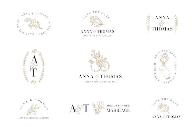 Pacote de logotipo de casamento de design plano