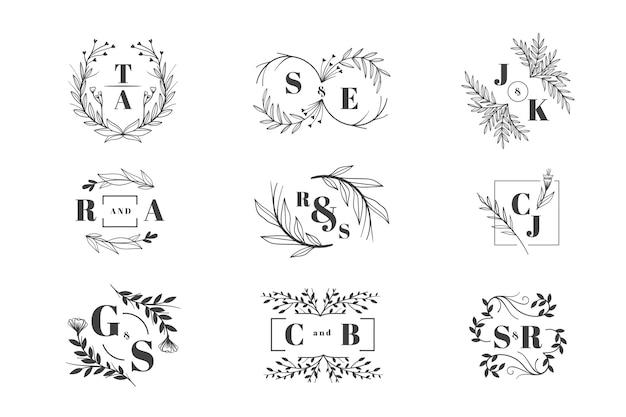 Pacote de logotipo de casamento floral