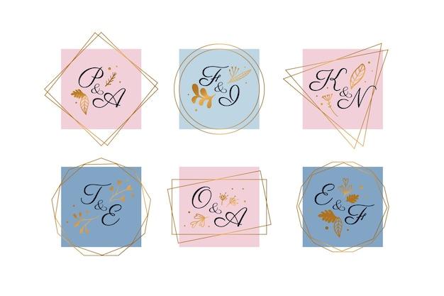 Pacote de logotipo de casamento pastel