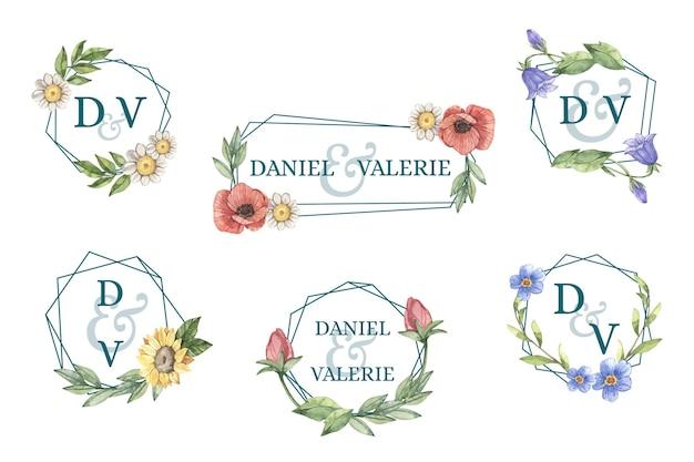 Pacote de logotipo de casamento pintado à mão