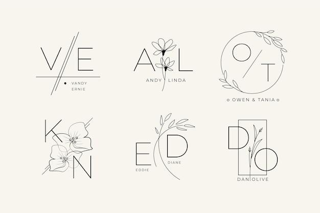 Pacote de logotipo de casamento plano linear