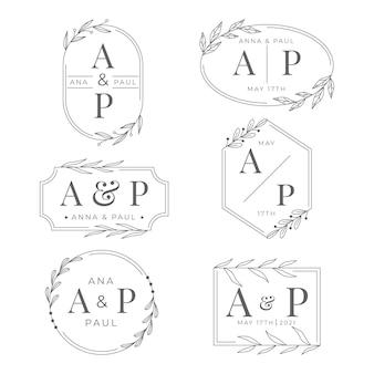 Pacote de logotipo de casamento plano