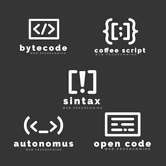 Pacote de logotipo de código plano