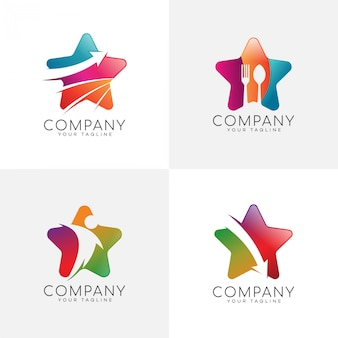 Pacote de logotipo de cor moderna