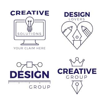 Pacote de logotipo de designer gráfico de design plano
