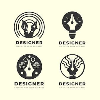 Pacote de logotipo de designer gráfico plano