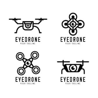 Pacote de logotipo de drone plano