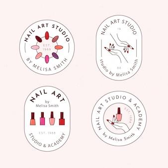 Pacote de logotipo de estúdio de arte de unhas