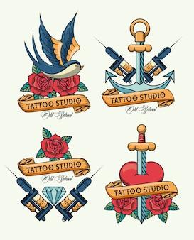 Pacote de logotipo de estúdio de tatuagens