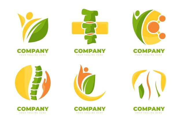 Pacote de logotipo de fisioterapia plana