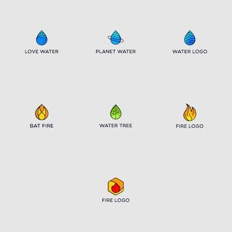 Pacote de logotipo de fogo e água