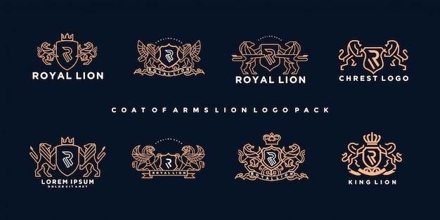 Pacote de logotipo de leão de brasão de armas de luxo