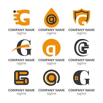 Pacote de logotipo de letra g de design plano