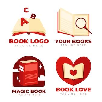 Pacote de logotipo de livro de design plano
