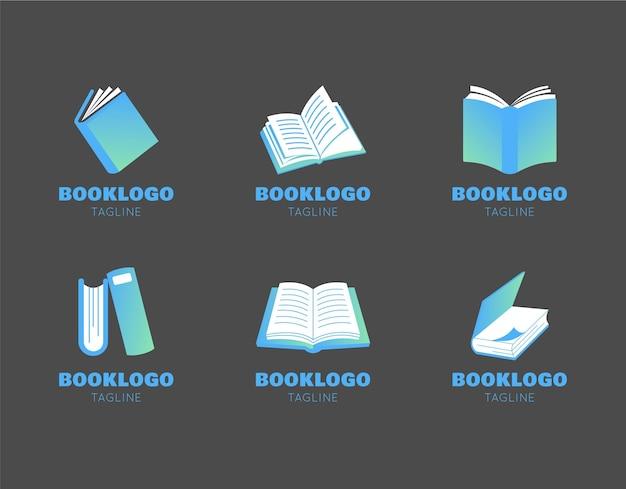 Pacote de logotipo de livro plano moderno