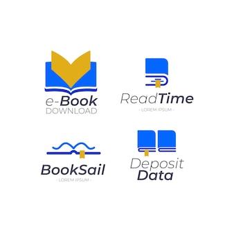 Pacote de logotipo de livro plano