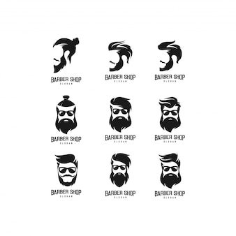 Pacote de logotipo de loja de barbeiro