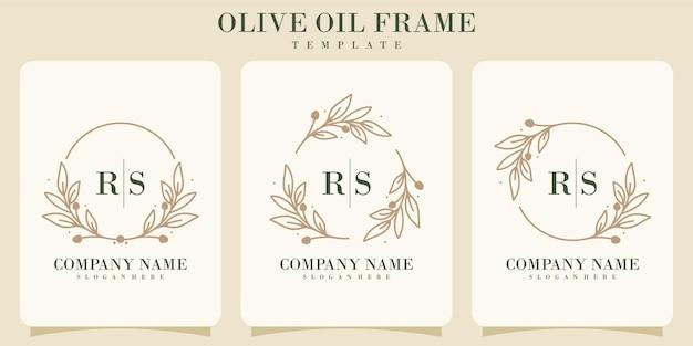 Pacote de logotipo de luxo com moldura de azeite