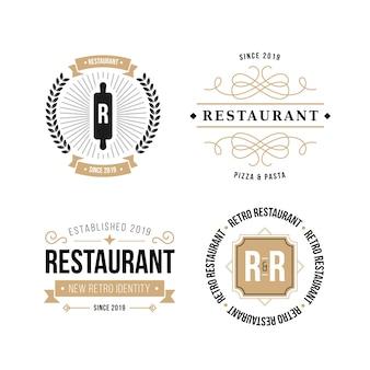 Pacote de logotipo de marca retrô de restaurante