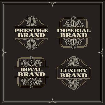 Pacote de logotipo de marca retrô luxuoso