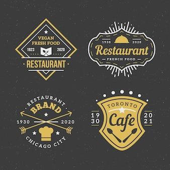 Pacote de logotipo de marca vintage de restaurante