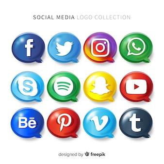 Pacote de logotipo de mídia social de gradiente