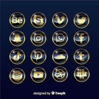 Pacote de logotipo de mídia social de luxo
