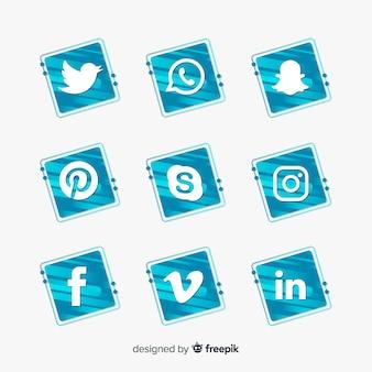 Pacote de logotipo de mídia social gradiente