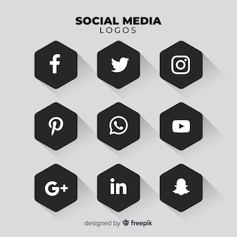 Pacote de logotipo de mídia social preto