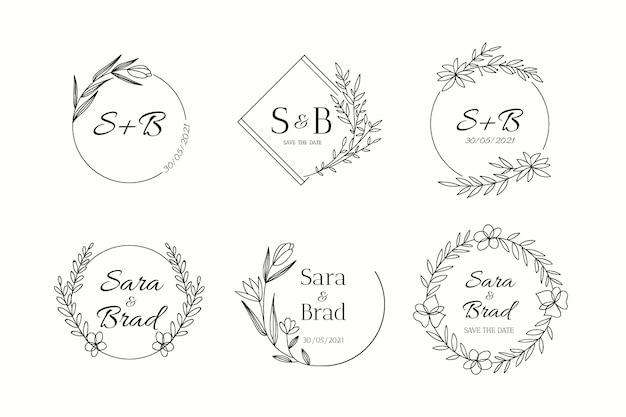 Pacote de logotipo de monograma de casamento