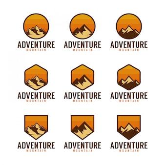 Pacote de logotipo de montanha de aventura