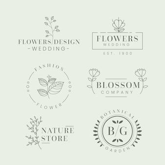 Pacote de logotipo de negócios naturais em estilo minimalista