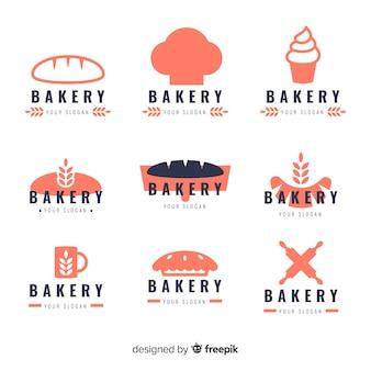 Pacote de logotipo de padaria de silhueta