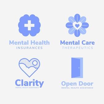 Pacote de logotipo de saúde mental de design plano