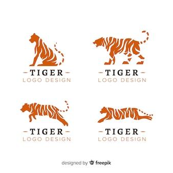 Pacote de logotipo de silhueta de tigre