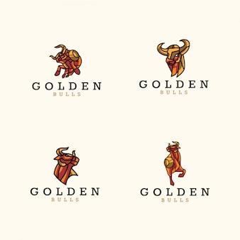 Pacote de logotipo de touros de ouro