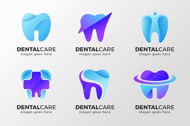 Pacote de logotipo dentário gradiente