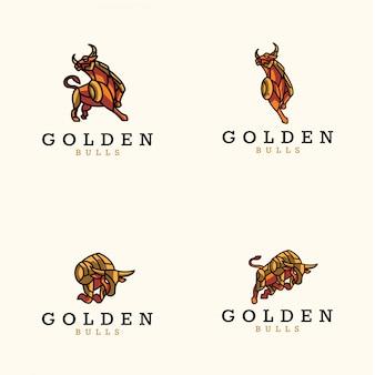 Pacote de logotipo do touro dourado