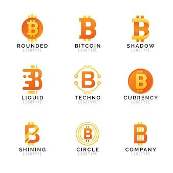Pacote de logotipo gradiente bitcoin